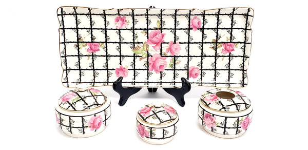 Antique Crown Ducal ware Pink & Black 7 Piece Dresser Set - England Early Mark