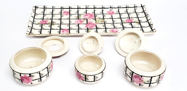 Rare Art Deco Crown Ducal Ware Pink & Black 7 Piece Dresser Set - England Early Mark