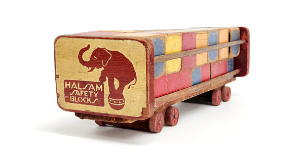 Mid-Century 32 Toy Wooden Blocks w/ Push Cart by Halsam