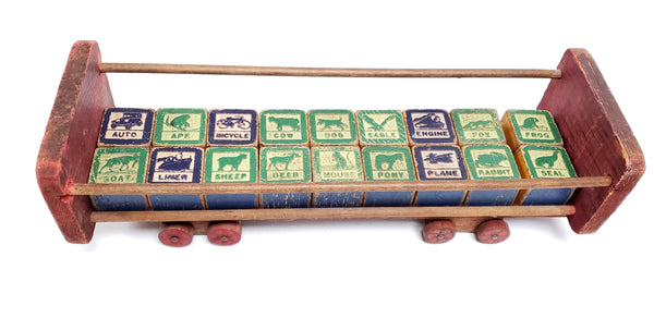 Mid-Century 32 Wooden Blocks with Push Cart by Halsam