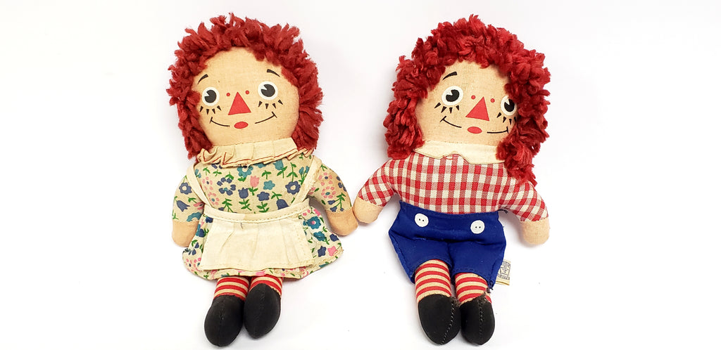 "1970's  Raggedy Ann & Andy 7"" Dolls by Knickerbocker"
