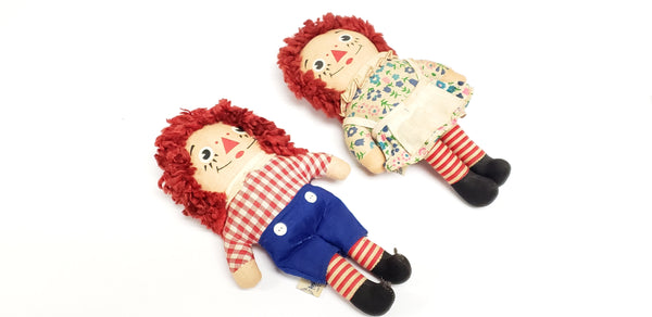 "1970 's Raggedy Ann & Andy 7"" Dolls by Knickerbocker"