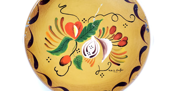 Hand Painted Double Sided Skillet Pan of Model T & Folk Art Signed & Dated 1974