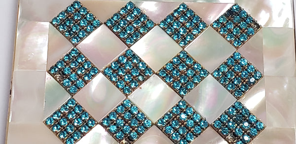 Mid-Century Mother of Pearl & Aqua Rhinestone Compact Cases - by Elgin American, Signed