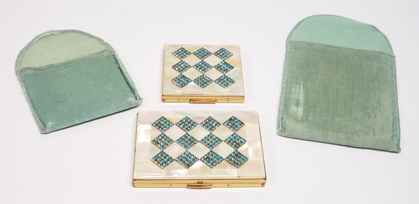 Mid Century Elgin American Mother of Pearl & Aqua Blue Rhinestone Compact Cases