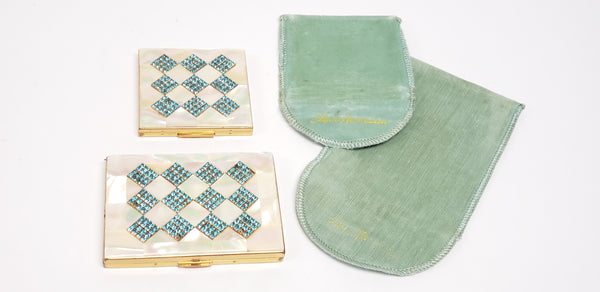 Mid-Century Elgin American Mother of Pearl & Aqua Rhinestone Compact Cases