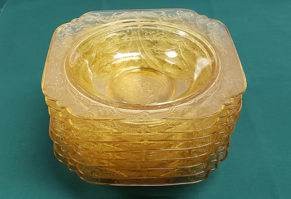 Madrid Amber Depression Glass Rim Soup Bowls by Federal Glass Set of 8