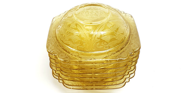 Madrid Amber Depression Glass Rimmed Soup Bowls Set of 8 by Federal Glass