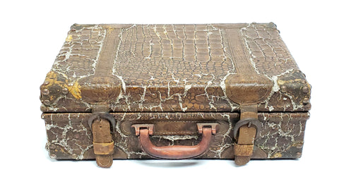 Vintage Alligator Leather Suitcase Home Decor Accent