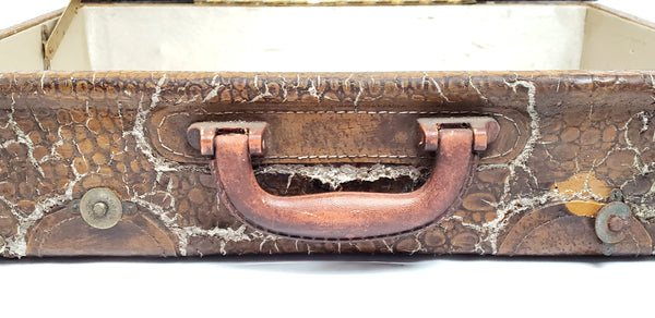 Old Dry Alligator Leather Suitcase Home Decor Accent