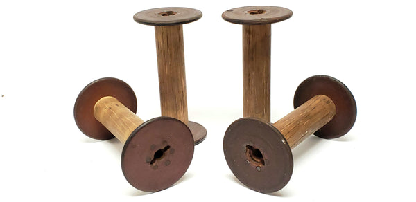 Antique Wooden Textiles Spools- Collection of 4 - Crafting or Repurpose Project