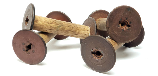 19th Century Wooden Textiles Spools- Collection of 4 - Crafting or Repurpose Project