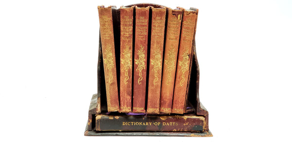 """The Complete Works of William Shakespeare"" 6 Volume Set & ""Dictionary of Dates"" W/ Stand - England"
