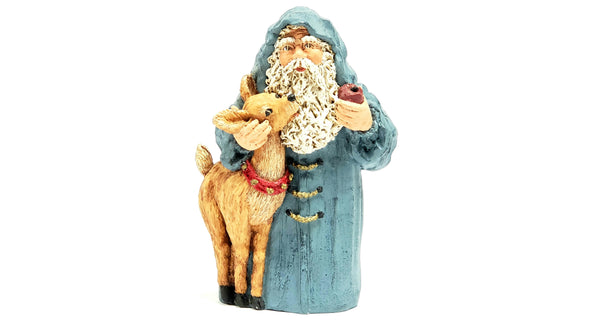 June McKenna Collectible Flat Back Christmas Ornament Santa and Reindeer 1992
