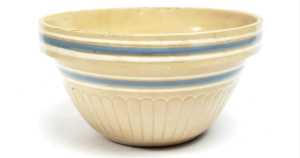 "Early McCoy 11 1/2"" Blue & White Banded Mixing Bowl USA #424"
