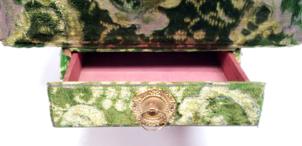 Antique Victorian Green Velvet Photo Album w/ Drawer, Stand & Cabinet Cards - Late 1800's