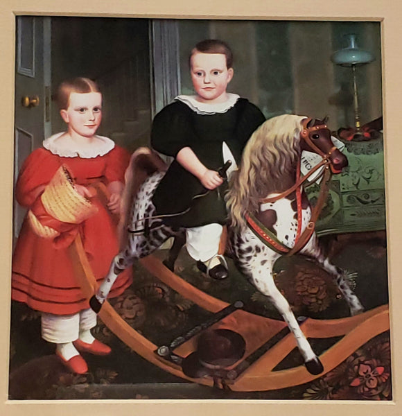 "Framed Folk Art Print ""Hobby Horse""  By Robert Peckham"