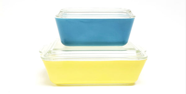 Vintage Pyrex Yellow & Blue Primary Lidded Glass Refrigerator Storage Dishes 500 Series