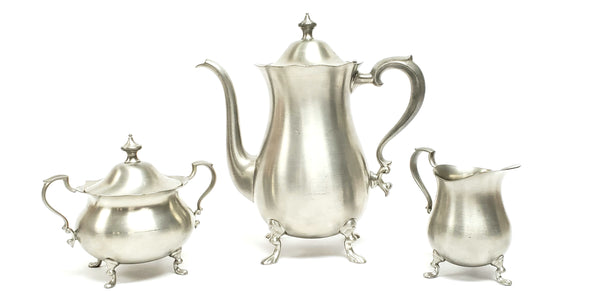 English Pewter Raised Footed 3 Piece Tea Set - Sheffield England by Leonard