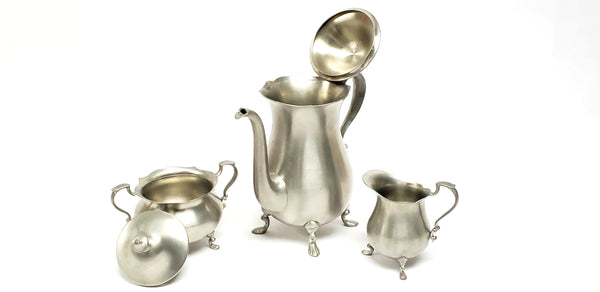 Vintage English Pewter Raised Footed 3 Piece Tea Set - Sheffield England by Leonard