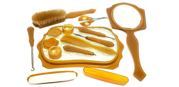 1920's Art Deco Green and Amber Celluloid 12 Piece Vanity Dresser Manicure Set