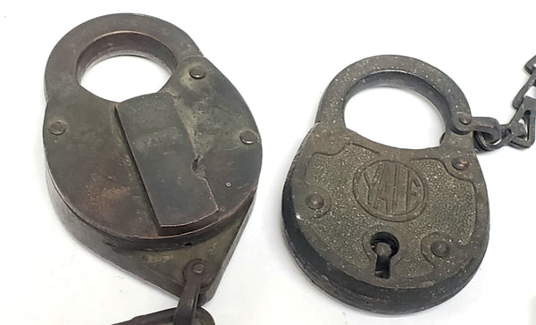Two Antique Yale & Towne Mfg. Padlocks w/ Original Chains - No Keys