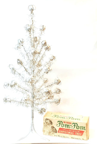 "1950's ""Sparkler"" Retro Aluminum Pom Pom Christmas Tree w/ Original Instructions"