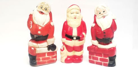 Vintage Indoor Light-Up Santa's Christmas Blow Molds