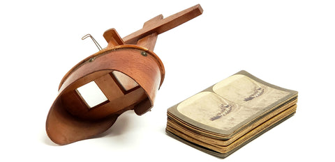 Antique 1895 Wooden Stereoscope Photo Viewer w/ 19 Black & White Photo Cards Landmarks & More
