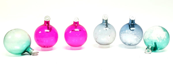 WWII Era Unsilvered Paper Tab Hanging Christmas Ball Ornaments - Pink, Blue & Green