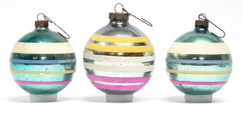 Early Vintage Shiny Brite Christmas Ball Ornament - Colored Stripes Made in US of A.