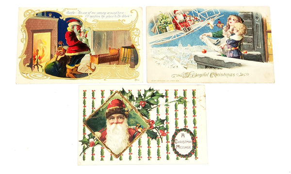 Antique Christmas Santa Claus Postcards Printed in Germany - Early 1900's