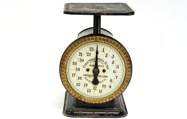 Antique Columbia Family Scale, Landers Frary & Clark, Black w/ Gold, Early 1900's