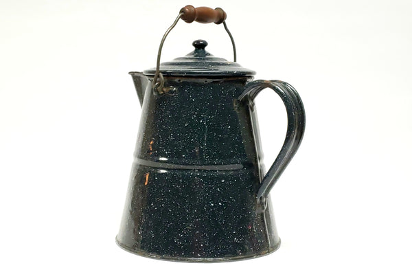 "Large 11"" Vintage Dark Blue & White Speckled Agate Enamelware Coffee Pot"