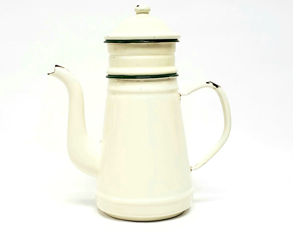 French Enamel Cream w/ Green 4 Piece Biggin Drip Coffee Pot - French Country Accent