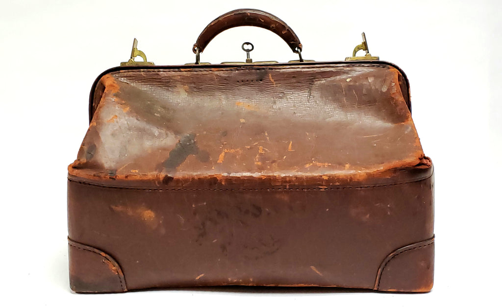 Vintage Leather Medical Apothecary Carrying Bag with Key