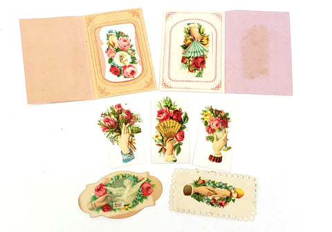 Original Victorian Era Embossed Paper Die-Cuts, Cut-Outs - Floral Late 1800's