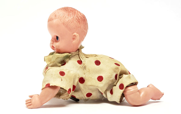 Vintage Mechanical Wind-up Crawling Baby Toy Collectible