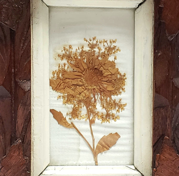 Vintage Adirondack Carved Framed Wall Art With Dried Pressed Flower