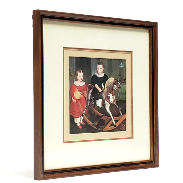 "Framed Folk Art Print ""Hobby Horse""  Two Siblings During Playtime in the 19th Century"