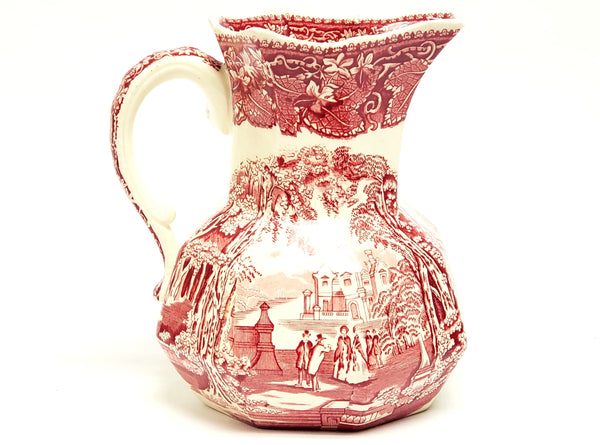 "Mason's ""Vista"" Pink / Red Transferware Ironstone 6 3/4"" Pitcher Jug - England"