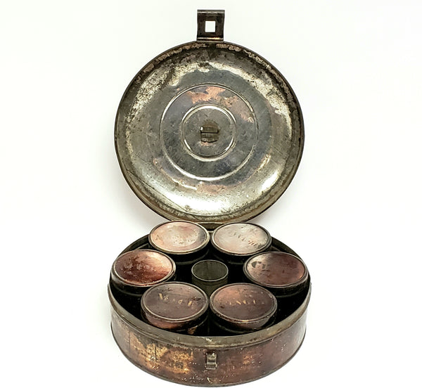 Round Spice Box Set with 6 Original Stenciled Spice Tins ~ c. Late 1800's