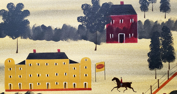 "Signed Hope R. Angier ""Burk Tavern"" Hand Painted Oil on Canvas Folk Art Style Wall Hanging"