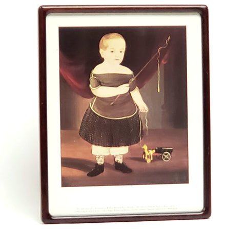 "Framed Folk Art Print of William Matthew Prior ""Boy with Toy Horse and Wagon"""