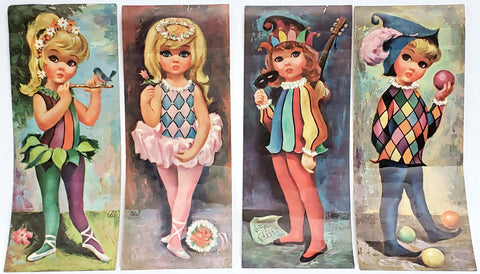 Mid-Century 1965 Goji Litho Big Eyed Dance Children Art Prints  - Set of 4