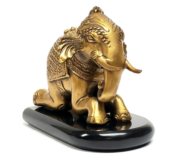 Brass Kneeling Elephant Statuette - Office Accent