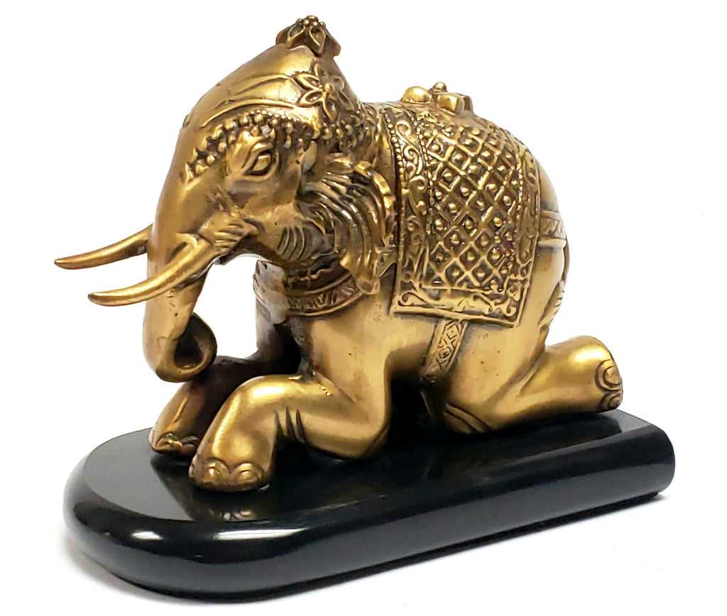 Brass Indian Kneeling Elephant Statuette - Office Accent