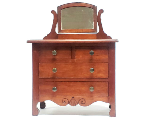 "Wooden 16"" Salesman Sample Replica Dresser w/ Swivel Mirror - Keepsake Box"