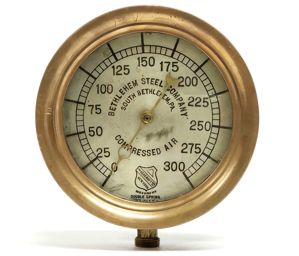 Antique Bethlehem Steel Brass 300 psi Compressed Air Gauge by Ashcroft C 1907-1929