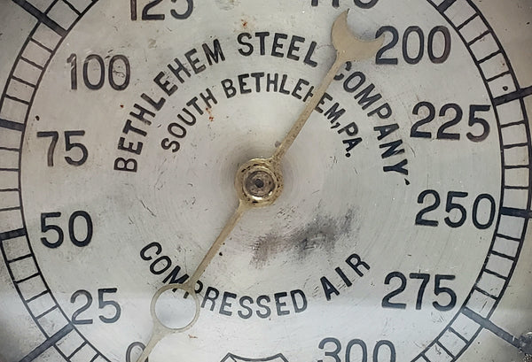 Antique Bethlehem Steel Brass 300 psi Compressed Air Gauge by Ashcroft ~ 1907-1929